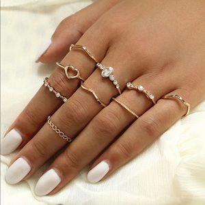 urban 9pc heart rhinestone ring set